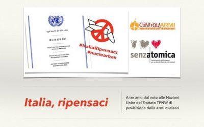 Disarmo. Comunità Papa Giovanni XXIII: l'Italia ci ripensi e firmi il Trattato.